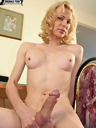 Horny blonde shemale