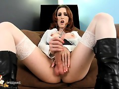 Horny Brittany jerking her huge hard dick
