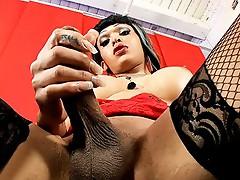 Hot Adriana stroking her huge rock hard dick