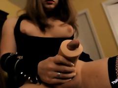 Horny tgirl Tiffany Starr fucking a toy pussy