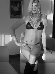 TS Angelina posing in black and white