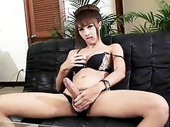 Exotic TS Cartoon playing with her huge dick
