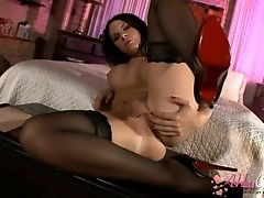 Hot Ashley spreading her ass in tempting stockings