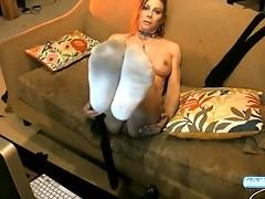 Pretty TS Jasmine Jewels posing her sexy feet