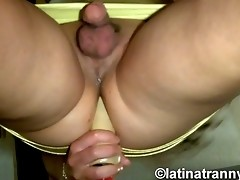 Naughty transsexual Nikki toying her juicy asshole