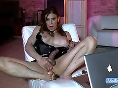 Pretty Jasmine playing with her fat hard dick