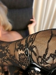 Amazing transsexual Lora posing in tempting stockings