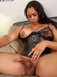 Hot ebony shemale with a rock hard cock
