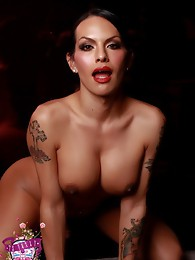 Smoking hot TS Foxxy strips and poses