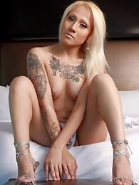 Gorgeous tgirl Leslie stripping on the bed
