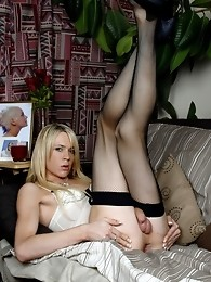British Transsexual Posing On The Sofa