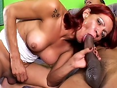 Hot redhead Paola sucking & riding on a big monster cock