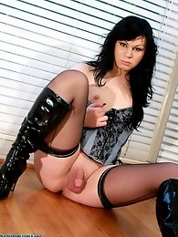 Adrianna is an LA t-girl who has a bad girl look to her. With her breasts popping out of her corset and her jet black hair, Adrianna is definitely som