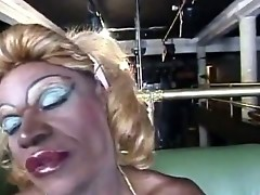 Who could resist this horny black she-male with super huge dick. See her as she gets nasty on herself, playing her huge dick until a frail dude appear