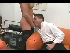 Bubble butt tranny  struts her stuff in front of this dude who really got it going. See her then sit in bed and strokes her meat which got this guy ho