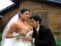 Outrageous ass-cramming fest for dicky shemale bride and her steamy fiance