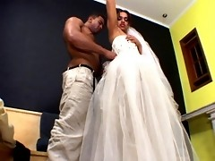 Regular wedding with shemale bride turns into sheer fucking bout on sofa