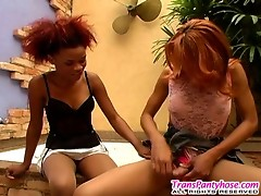Hot shemale in silky hose revealing her stiff surprise pulling up her skirt