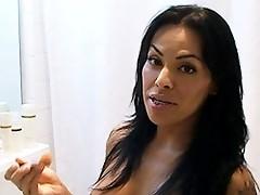 Cute TS Foxxy sucking her boyfriend dry
