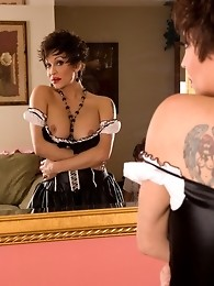 Naughty TS maid Kourtney playing with toys