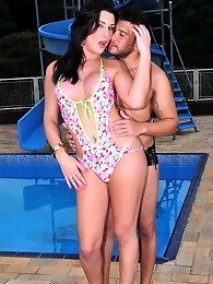 Sweet transsexual babe gets banged by the pool