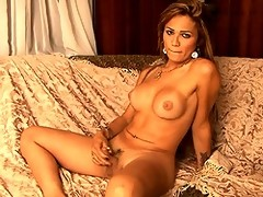 Sweet & sexy tgirl masturbating on the couch