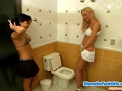 Frisky shemale and her slim girlfriend getting down and dirty in bathroom