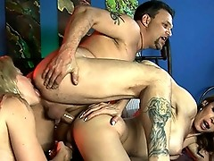 Jasmine and Heidi in a hot hardcore threesome with a guy