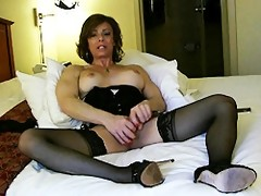 Horny mature shemale Jasmine Jewels playing with her penis